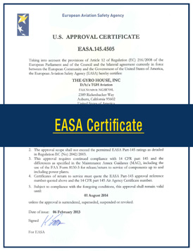 TGH Aviation EASA Certificate
