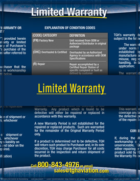 TGH Aviation Limited Warranty Image