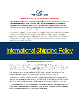 TGH Aviation Shipping Policies